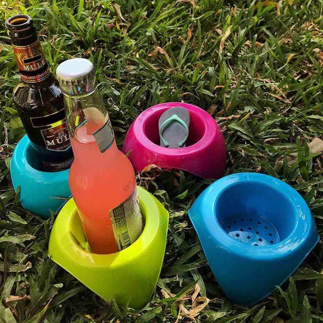 Plastic Sand Coasters – Set of 4
